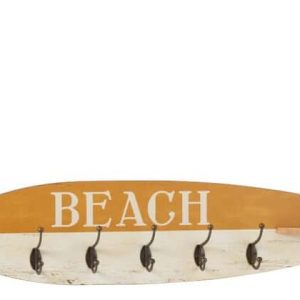 Coat Rack 5 Hooks Surfboard Wood Ochre £45