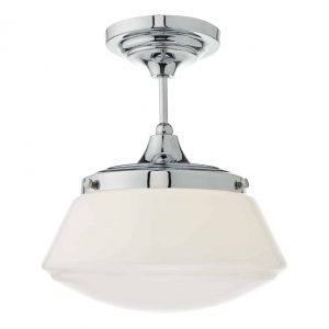 Caden 1lt Semi Flush Polished Chrome & Opal Glass