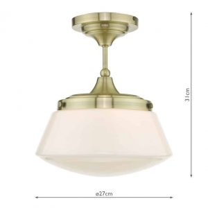 Caden Semi Flush Antique Brass Opal Glass £72