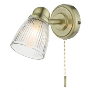 Cedric Single Spotlight Antique Brass Glass