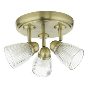 Cedric 3 Light Spotlight Antique Brass Glass