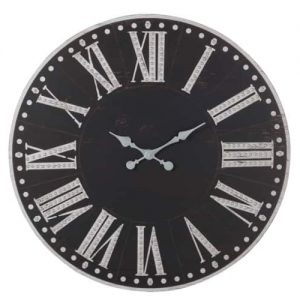Clock Roman Numerals Distressed Wood Metal Black/White 90 CM