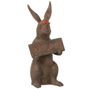 "Rabbit Placard """"Welcome"""" Polyresin Brown"
