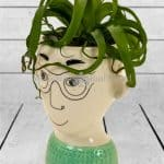 CERAMIC DOODLE MAN'S FACE VASE – GLASSES