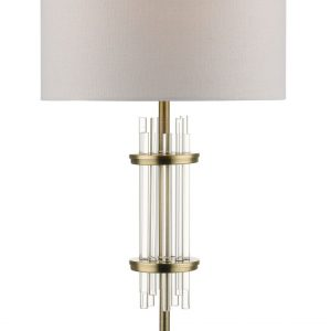 Chrysler Antique Brass and Crystal Table Lamp c/w Shade