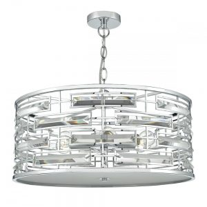 Seville 6 Light Pendant K9 Crystal Polished Chrome
