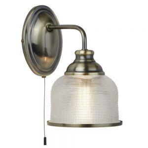 BISTRO II – 1 LIGHT WALL BRACKET, ANTIQUE BRASS, HALOPHANE GLASS