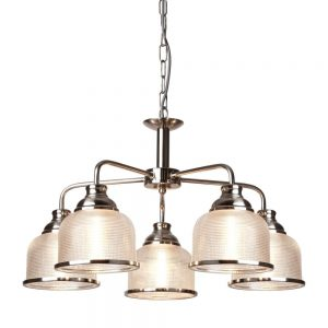 BISTRO II – 5 LIGHT CEILING, SATIN SILVER, HALOPHANE GLASS