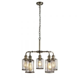 PIPES 5LT PENDANT, ANTIQUE BRASS WITH SEEDED GLASS