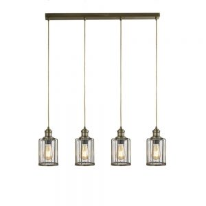 PIPES 4LT BAR PENDANT, ANTIQUE BRASS WITH SEEDED GLASS