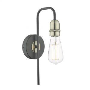 Kiefer 1lt Wall Light Black & Antique Brass