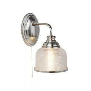 BISTRO II – 1 LIGHT WALL BRACKET, SATIN SILVER, HALOPHANE GLASS