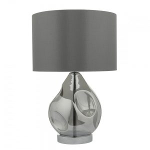 Quinn Table Lamp Smoked Glass With Shade