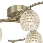 Nakita 6 Light Semi Flush Antique Brass With Dimpled Glass