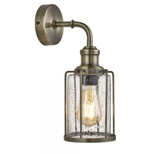 PIPES 1LT WALL LIGHT, ANTIQUE BRASS WITH SEEDED GLASS
