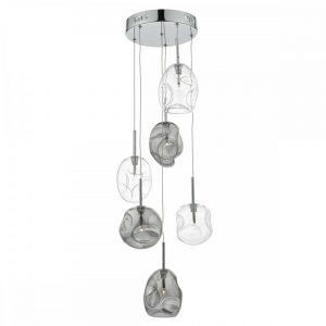 Quinn 6 Light Cluster Pendant Smoked & Clear Glass