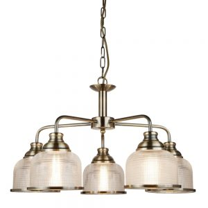BISTRO II – 5 LIGHT CEILING, ANTIQUE BRASS, HALOPHANE GLASS