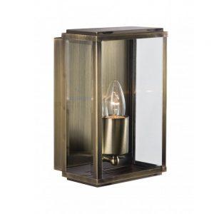 ANTIQUE BRASS IP44 RECTANGULAR BOX OUTDOOR WALL LIGHT WITH BEVELLED GLASS