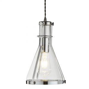 1 LIGHT METAL FRAMED CONICAL GLASS PENDANT, CHROME, CLEAR GLASS