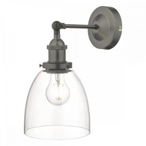 Arvin Industrial Wall Light Antique Chrome with Clear Glass Shade