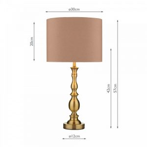 Madrid Ball Table Lamp Antique Brass complete with Shade